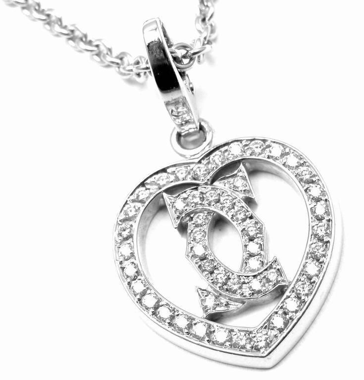 Cartier Diamond Heart Double C White Gold Pendant Necklace For Sale 2