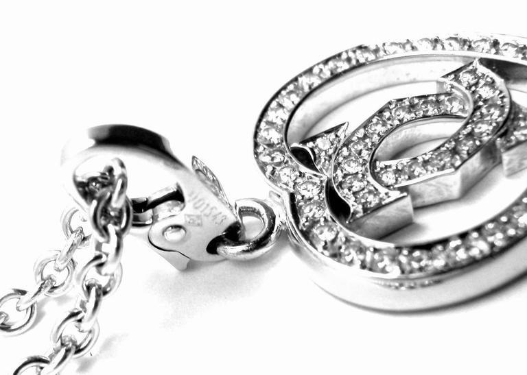 Cartier Diamond Heart Double C White Gold Pendant Necklace For Sale 3