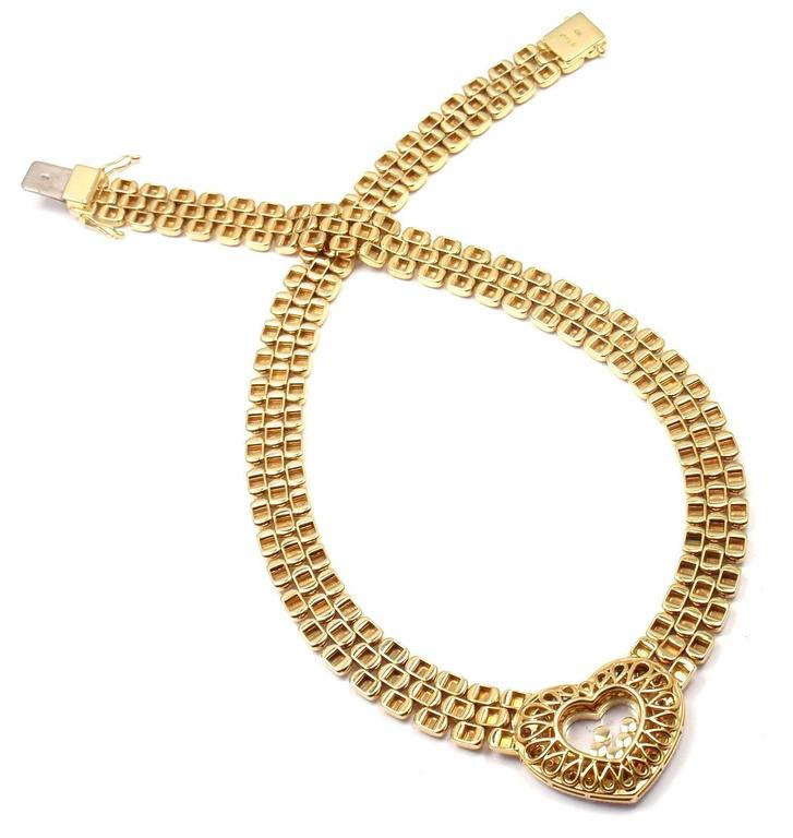 Women's or Men's Chopard Happy Diamonds Diamond Heart Yellow Gold Necklace For Sale
