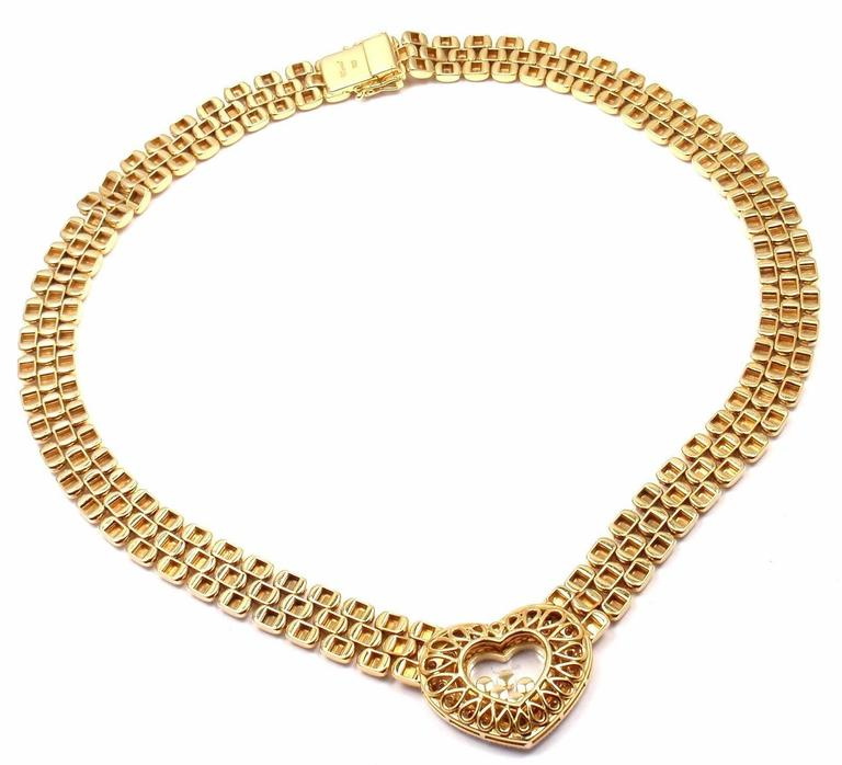 Chopard Happy Diamonds Diamond Heart Yellow Gold Necklace For Sale 4