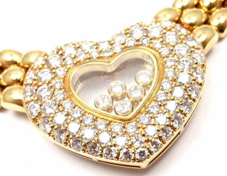 Chopard Happy Diamonds Diamond Heart Yellow Gold Necklace In New Condition For Sale In Southampton, PA