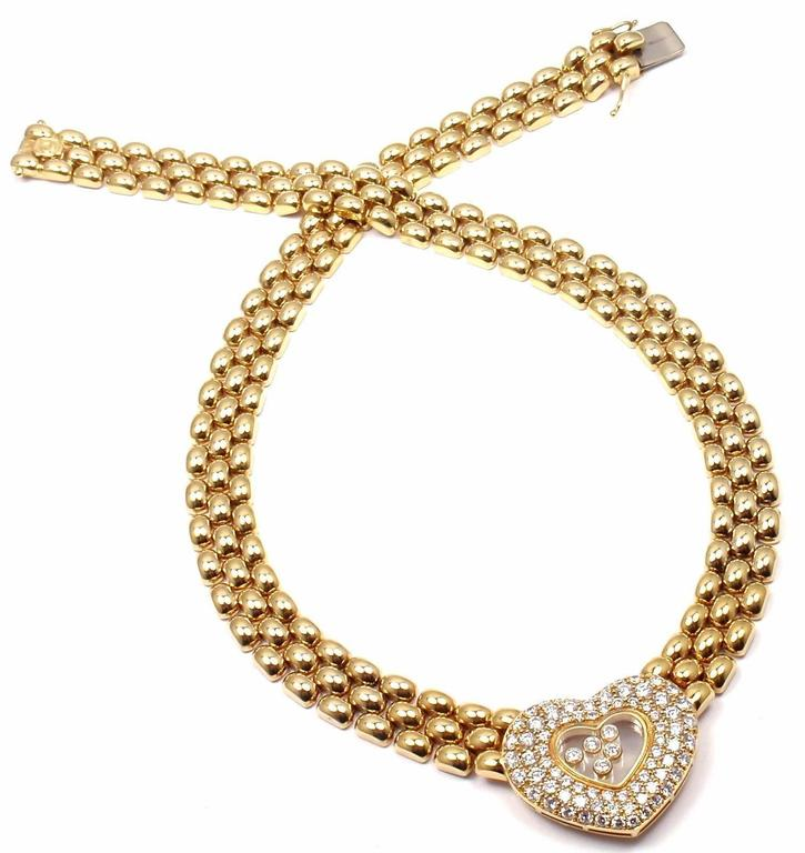 Chopard Happy Diamonds Diamond Heart Yellow Gold Necklace For Sale 5