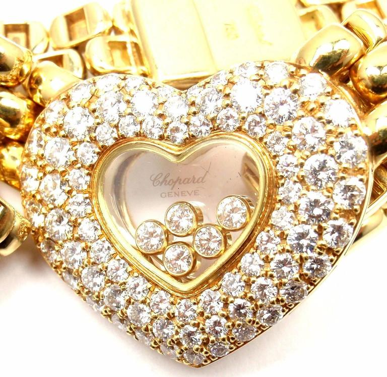 18k Yellow Gold Happy Diamonds Diamond Heart Necklace  by Chopard.  With 83 round brilliant cut diamonds VVS1 clarity, E color total weight approx. 2.59ct  Details: Length: 16