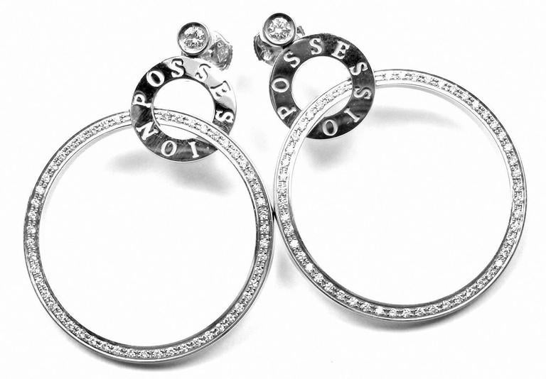 Piaget Possession Diamond Large White Gold Hoop Earrings For Sale 2