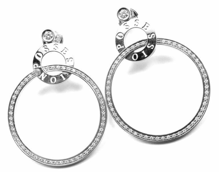 Piaget Possession Diamond Large White Gold Hoop Earrings For Sale 1