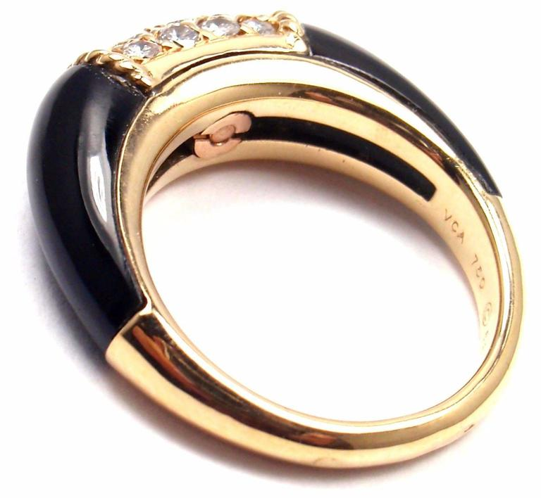 Van Cleef & Arpels Black Onyx Diamond Yellow Gold Band Ring For Sale 4