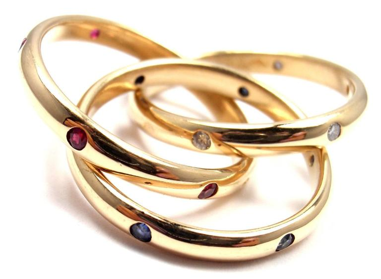 Cartier Trinity Ruby Sapphire Diamond Yellow Gold Band Ring 6