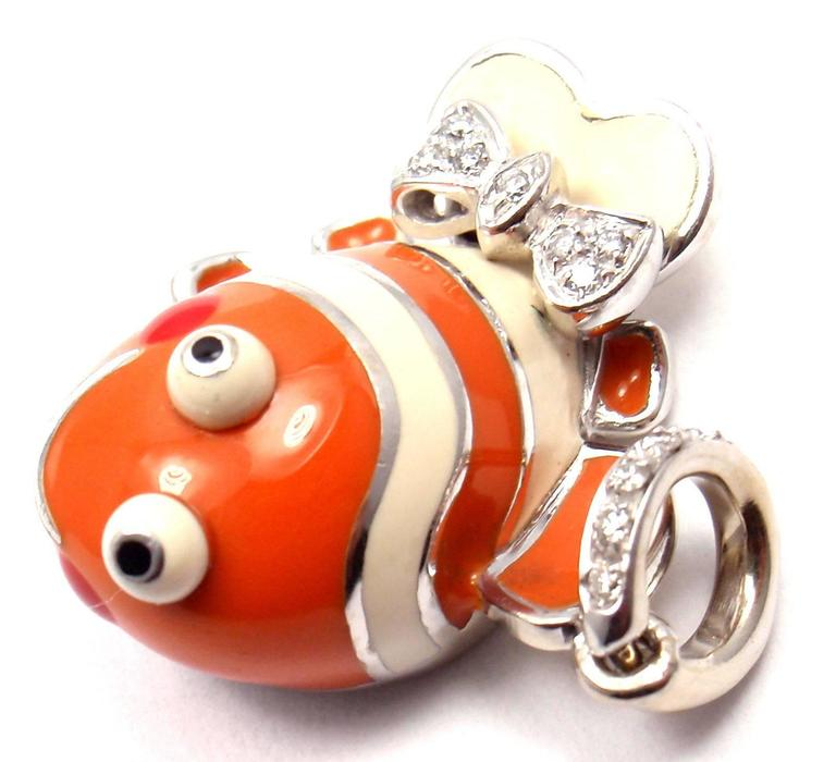 Aaron Basha Diamond White Gold Clown Fish Charm Pendant 4
