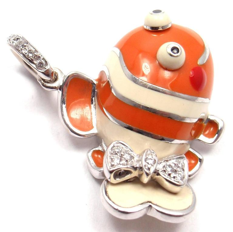 Aaron Basha Diamond White Gold Clown Fish Charm Pendant 5