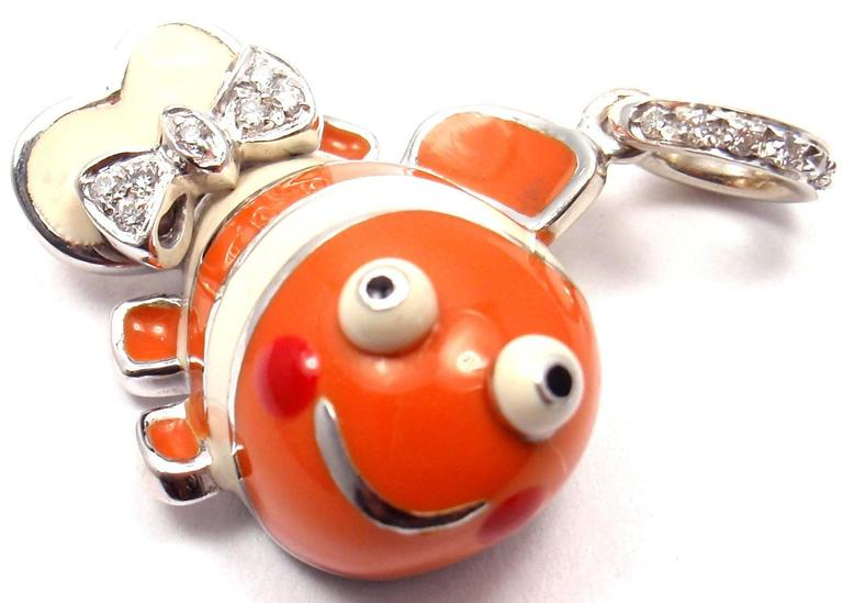 Aaron Basha Diamond White Gold Clown Fish Charm Pendant 2