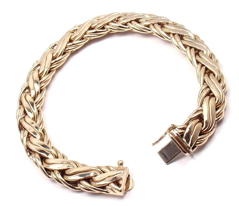 "Yellow Gold Russian Weave Bracelet  Details:  Length: 7.5"" Width: 10mm Weight: 23 grams Stamped Hallmarks: Tiffany& Co 585   14k gold *Free Shipping within the United States*  YOUR PRICE: $2,500  T1239mmld"