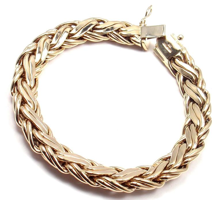 Tiffany & Co. Russian Weave Wide Yellow Gold Bracelet For Sale 2