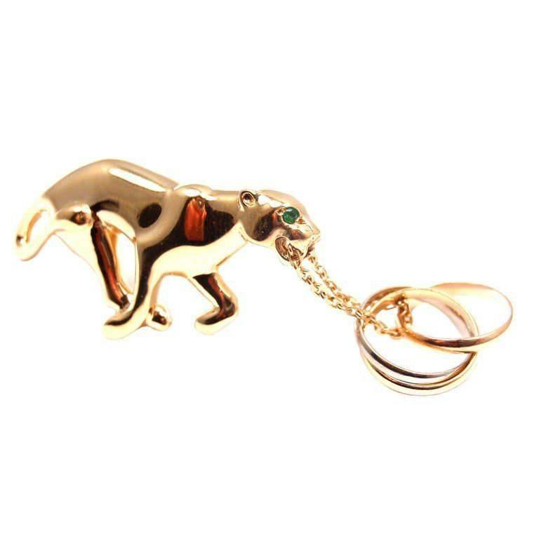 Cartier Panther Emerald Trinity Yellow Gold Pin Brooch