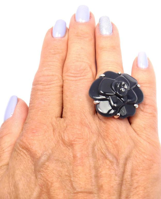 Chanel Camelia Large Black Agate White Gold Flower Ring 10