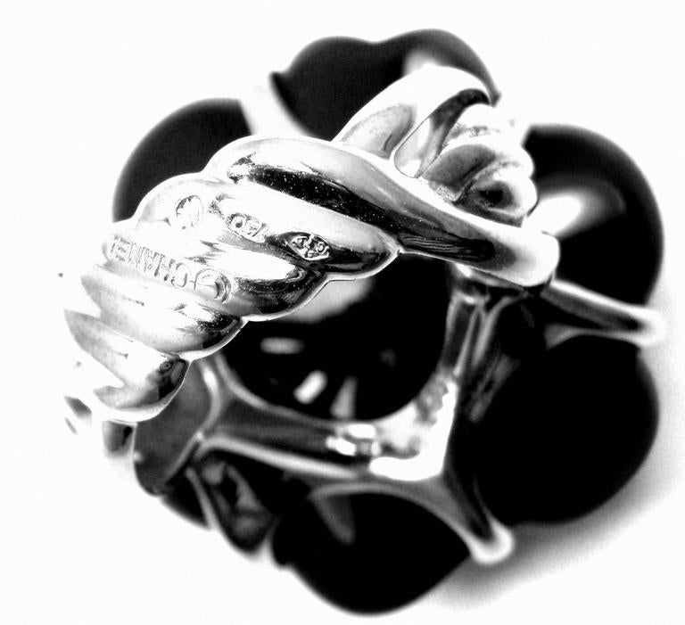 Chanel Camelia Large Black Agate White Gold Flower Ring 4