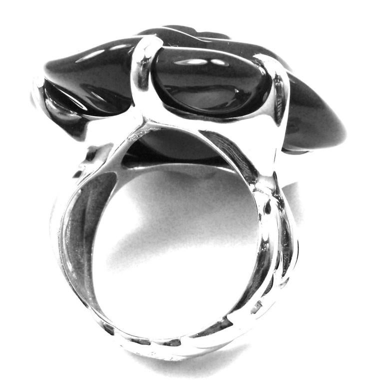 Chanel Camelia Large Black Agate White Gold Flower Ring 9