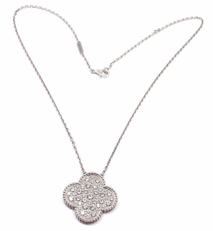 Van cleef and arpels diamond magic alhambra white gold necklace at van cleef arpels diamond magic alhambra white gold necklace in as new condition for sale aloadofball Images