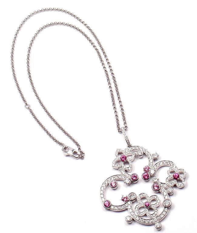 bef60afad44 Louis Vuitton Craquantes Pink Sapphire Diamond White Gold Pendant Necklace