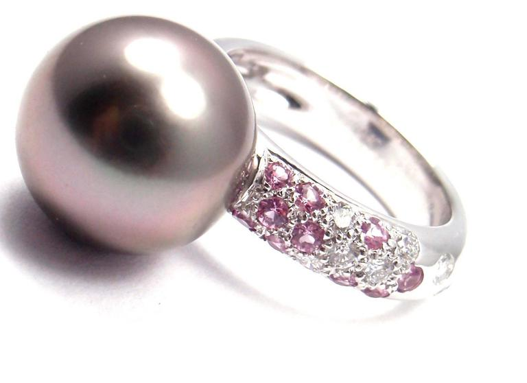 cartier tahitian pearl and pink sapphire white