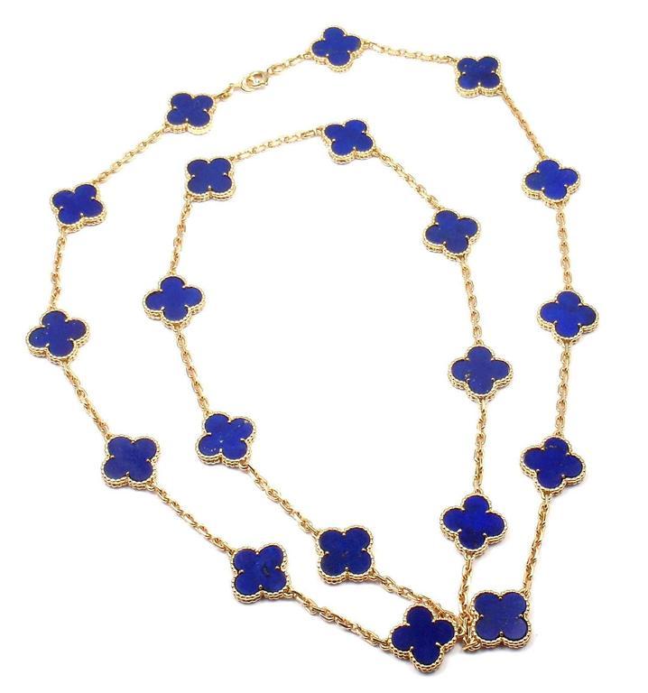 Van Cleef & Arpels Vintage Alhambra Lapis Lazuli 20 Motif Yellow Gold Necklace 2