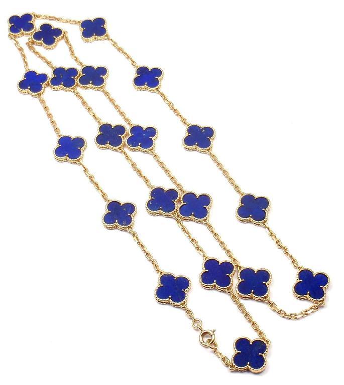 Van Cleef & Arpels Vintage Alhambra Lapis Lazuli 20 Motif Yellow Gold Necklace 4