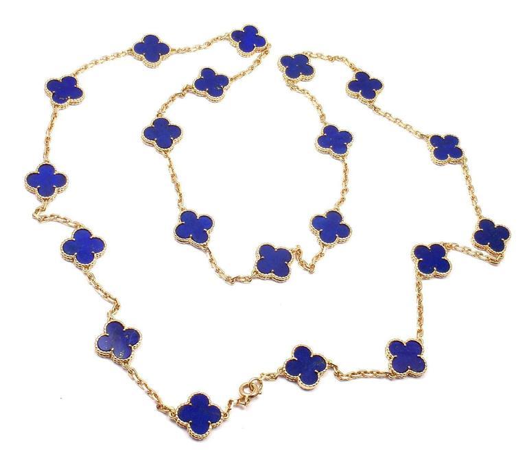 Van Cleef & Arpels Vintage Alhambra Lapis Lazuli 20 Motif Yellow Gold Necklace 5