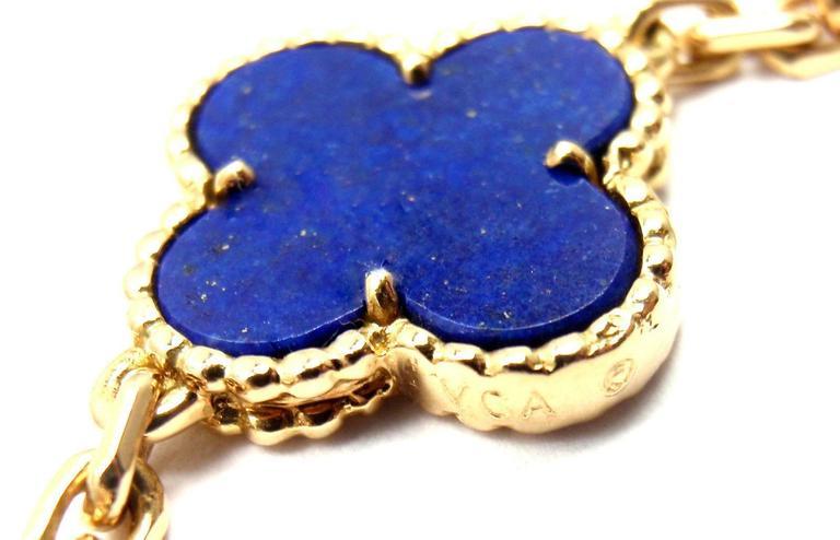 Van Cleef & Arpels Vintage Alhambra Lapis Lazuli 20 Motif Yellow Gold Necklace 6