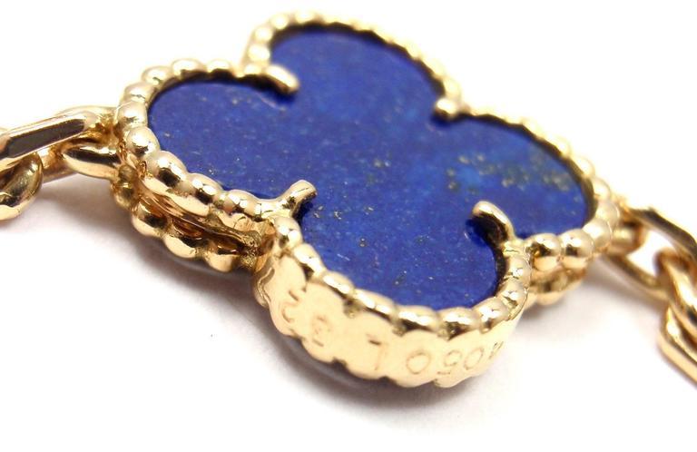 Van Cleef & Arpels Vintage Alhambra Lapis Lazuli 20 Motif Yellow Gold Necklace 7