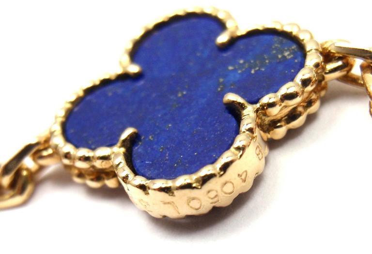 Van Cleef & Arpels Vintage Alhambra Lapis Lazuli 20 Motif Yellow Gold Necklace 8