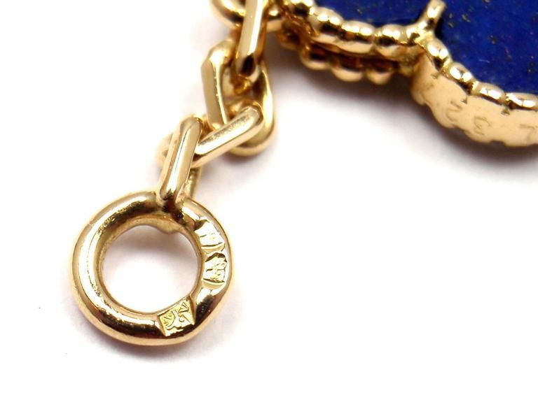 Van Cleef & Arpels Vintage Alhambra Lapis Lazuli 20 Motif Yellow Gold Necklace 9