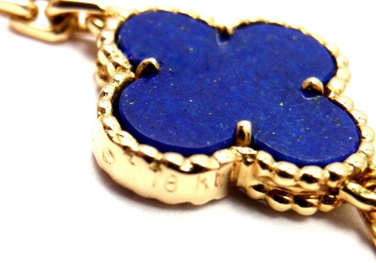 Van Cleef & Arpels Vintage Alhambra Lapis Lazuli 20 Motif Yellow Gold Necklace 10