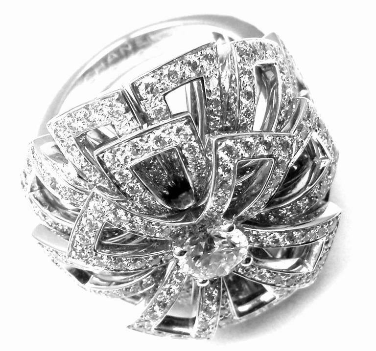 Chanel Diamond Large White Gold Flower Ring For Sale 1