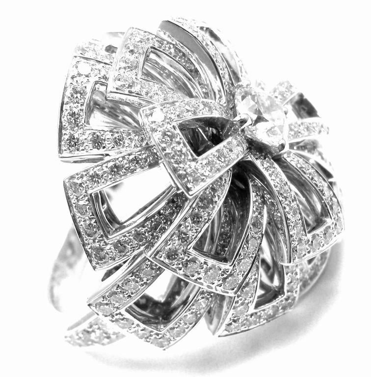Chanel Diamond Large White Gold Flower Ring In As new Condition For Sale In Southampton, PA