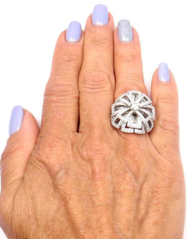 Chanel Diamond Large White Gold Flower Ring For Sale 3