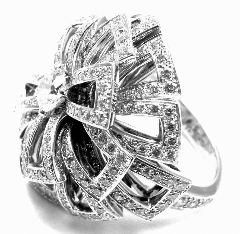 Chanel Diamond Large White Gold Flower Ring For Sale 4