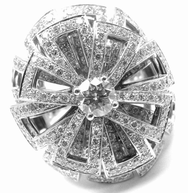 Chanel Diamond Large White Gold Flower Ring For Sale 2
