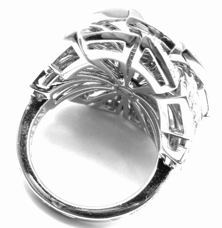Chanel Diamond Large White Gold Flower Ring For Sale 5
