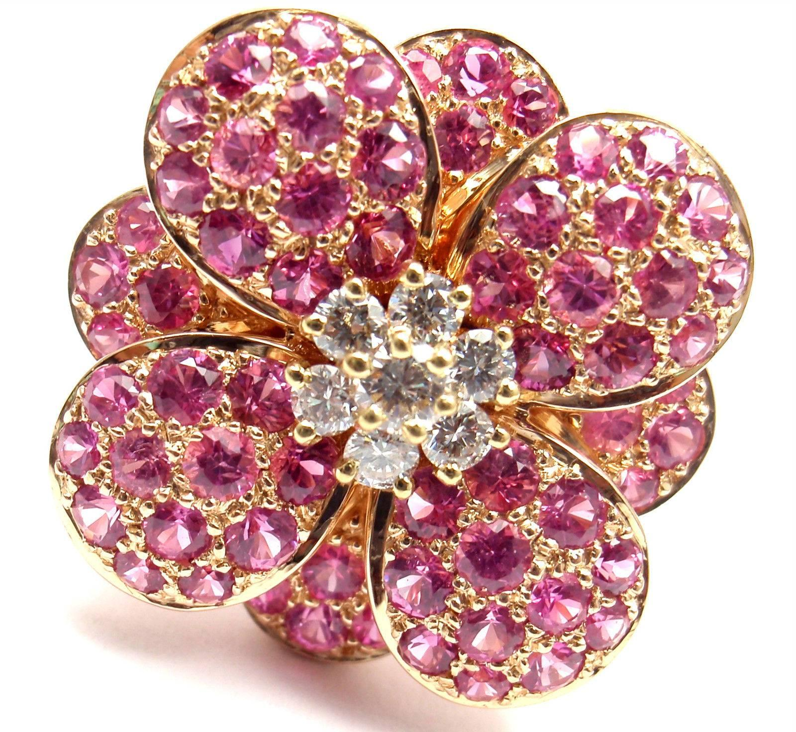 Van Cleef and Arpels Pink Sapphire Diamond Flower Rose Gold Ring at ...