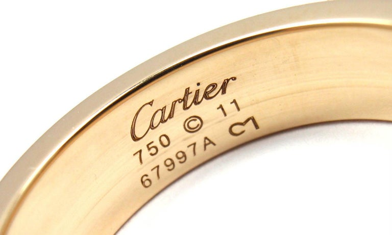 Women's or Men's Cartier Love Diamond Paved Yellow Gold Band Ring For Sale