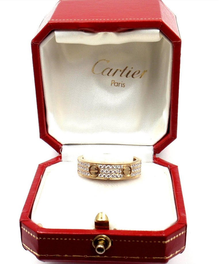 Cartier Love Diamond Paved Yellow Gold Band Ring For Sale 2