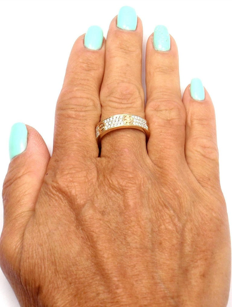 Cartier Love Diamond Paved Yellow Gold Band Ring For Sale 1