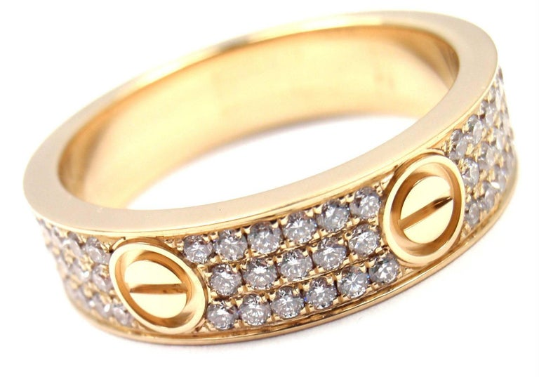 Cartier Love Diamond Paved Yellow Gold Band Ring In As New Condition For Sale In Southampton, PA