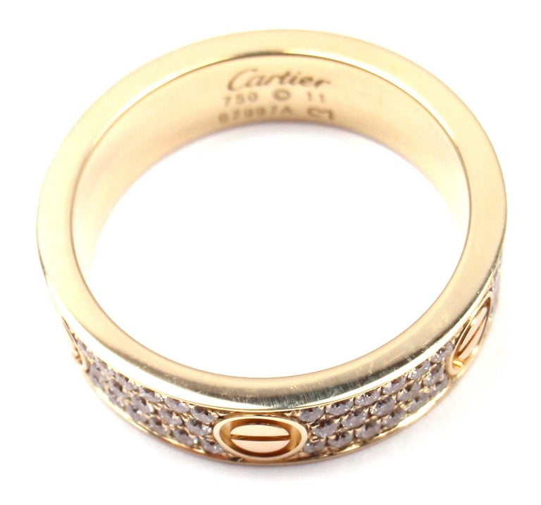 Cartier Love Diamond Paved Yellow Gold Band Ring For Sale 4
