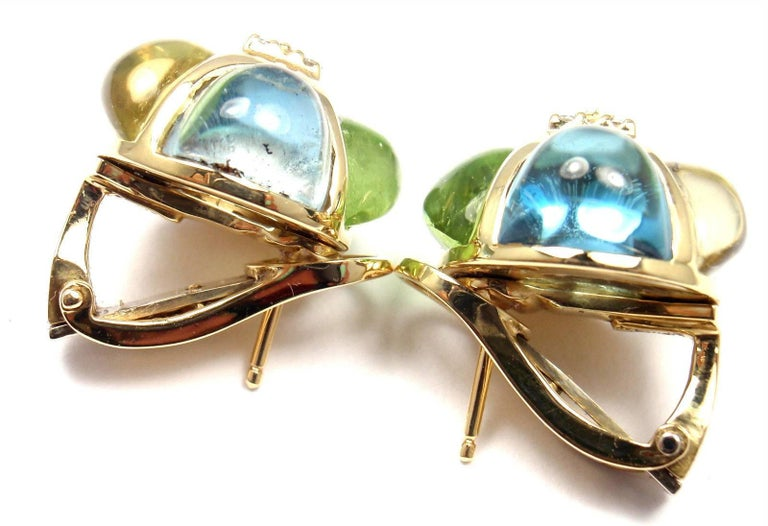 Laura Munder Diamond Peridot Aquamarine Topaz Yellow Gold Earrings In New Condition For Sale In Holland, PA