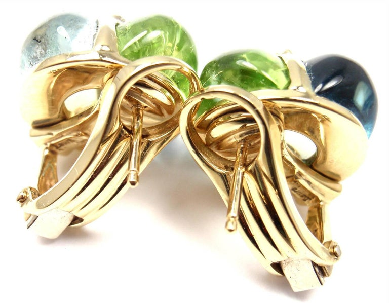 Women's or Men's Laura Munder Diamond Peridot Aquamarine Topaz Yellow Gold Earrings For Sale