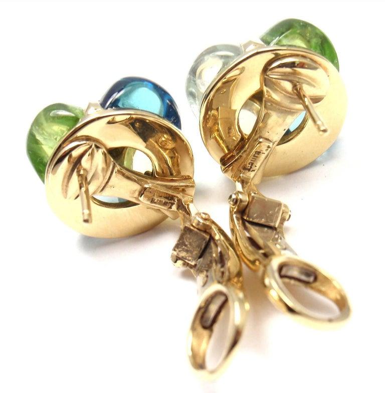 Laura Munder Diamond Peridot Aquamarine Topaz Yellow Gold Earrings For Sale 1