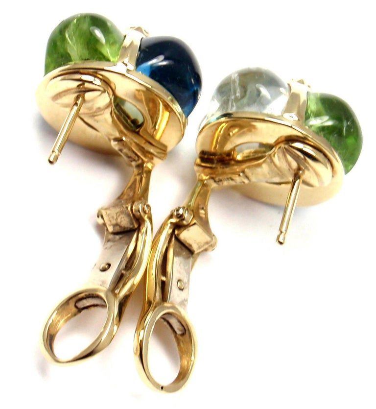 Laura Munder Diamond Peridot Aquamarine Topaz Yellow Gold Earrings For Sale 2