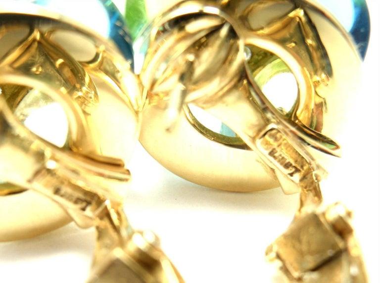 Laura Munder Diamond Peridot Aquamarine Topaz Yellow Gold Earrings For Sale 3