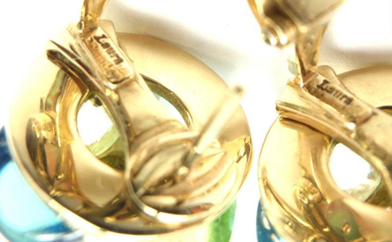 Laura Munder Diamond Peridot Aquamarine Topaz Yellow Gold Earrings For Sale 4