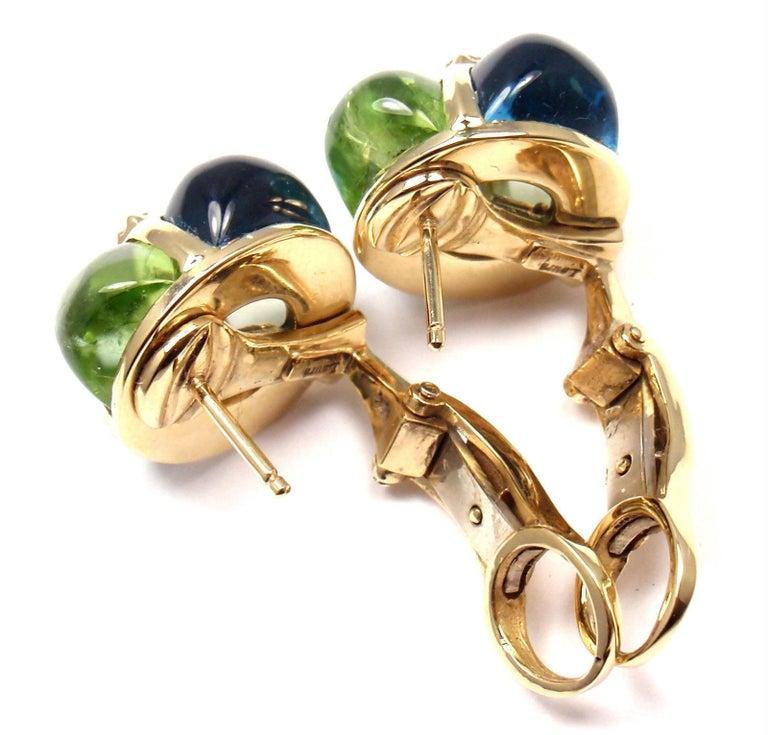 Laura Munder Diamond Peridot Aquamarine Topaz Yellow Gold Earrings For Sale 5